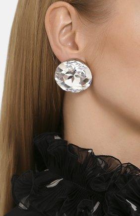 Женские серьги-клипсы SAINT LAURENT серебряного цвета, арт. 594183/Y1526 | Фото 2