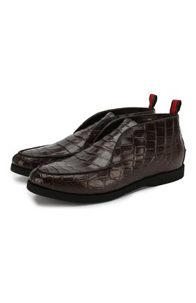 Мужские ботинки из кожи крокодила KITON темно-коричневого цвета, арт. USSFLYN00102/CNIL | Фото 1