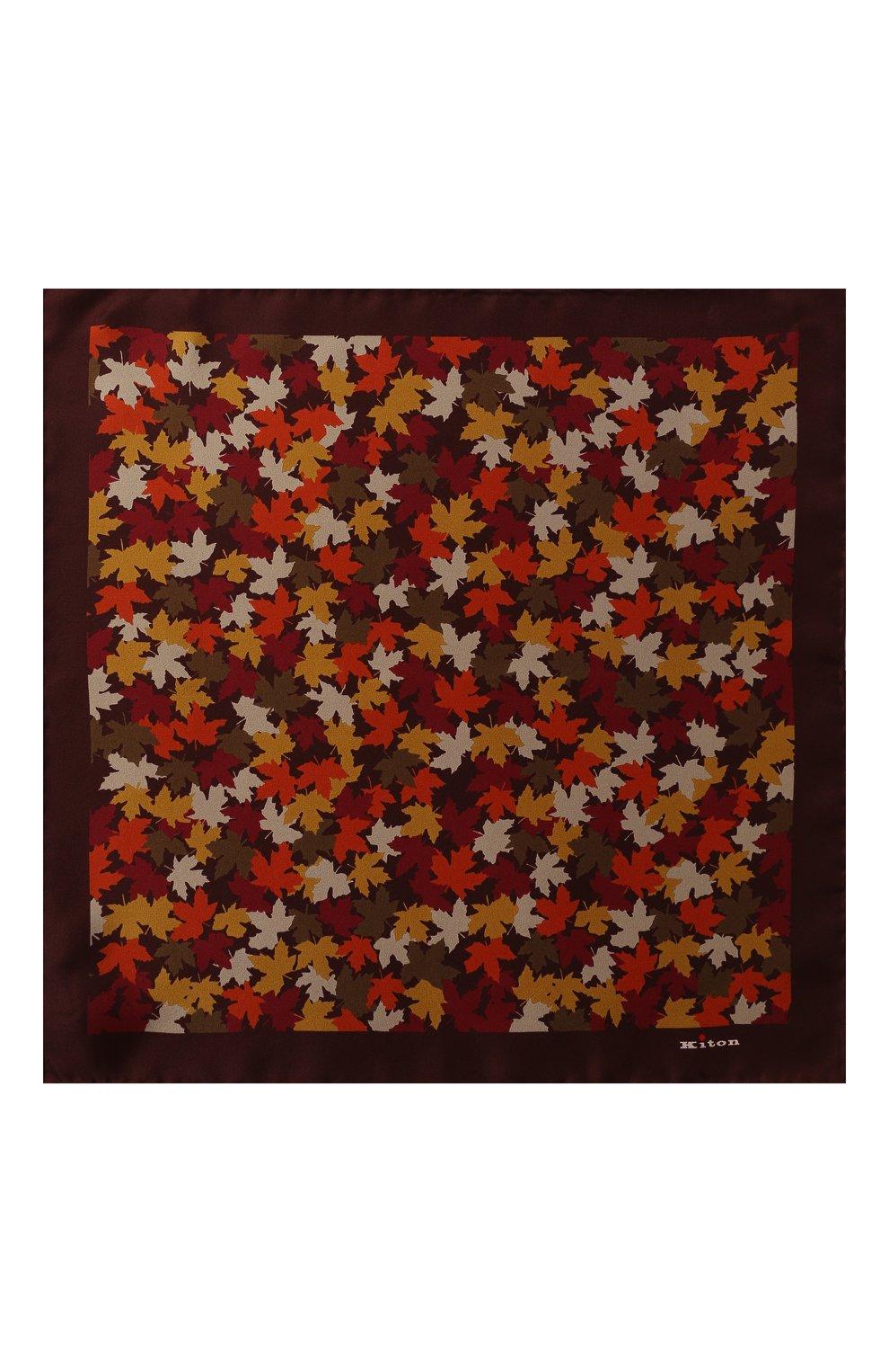 Мужской шелковый платок KITON оранжевого цвета, арт. UP0CHCX02S55 | Фото 3