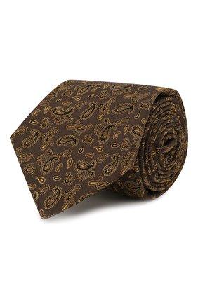 Мужской галстук из смеси шелка и шерсти KITON коричневого цвета, арт. UCRVKLC08F60 | Фото 1