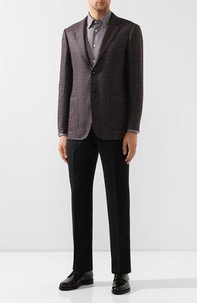 Мужская хлопковая рубашка BRIONI коричневого цвета, арт. SCCA0L/08013 | Фото 2