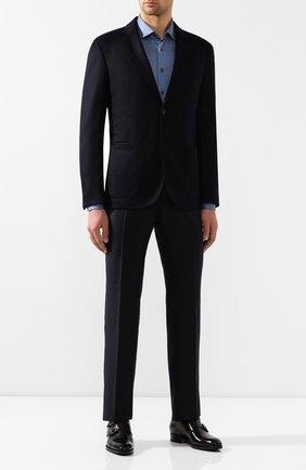 Мужская хлопковая сорочка ZILLI синего цвета, арт. MFS-00301-56052/RJ01 | Фото 2