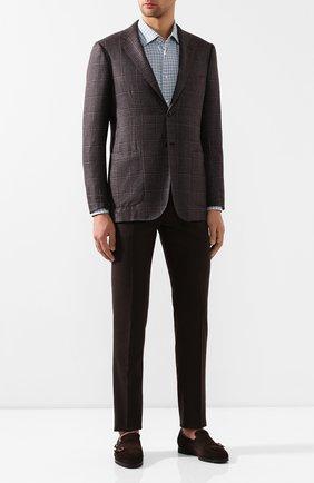 Мужской шерстяные брюки KITON коричневого цвета, арт. UFPP79K01S28   Фото 2