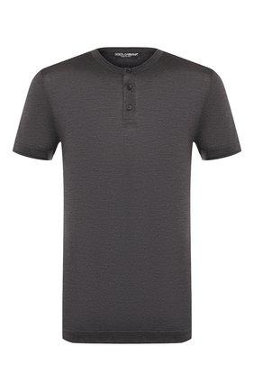 Мужская шелковая футболка DOLCE & GABBANA темно-серого цвета, арт. G8KB9T/FU75F | Фото 1