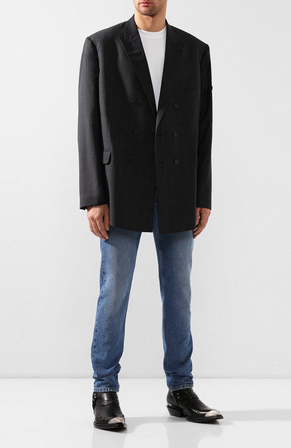 Мужские кожаные казаки harness BALENCIAGA черного цвета, арт. 562603/WA921 | Фото 2