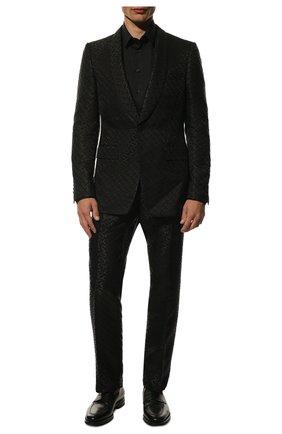 Мужской костюм из смеси шерсти и вискозы BURBERRY черного цвета, арт. 8014544   Фото 1