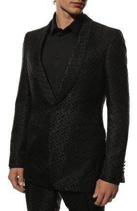 Мужской костюм из смеси шерсти и вискозы BURBERRY черного цвета, арт. 8014544   Фото 2