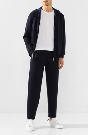 Мужской брюки из смеси шерсти и шелка ANDREA CAMPAGNA темно-синего цвета, арт. WU92-111TSUM   Фото 2