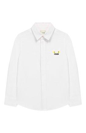 Детская хлопковая рубашка FENDI белого цвета, арт. JMC086/A31W/3A-5A | Фото 1
