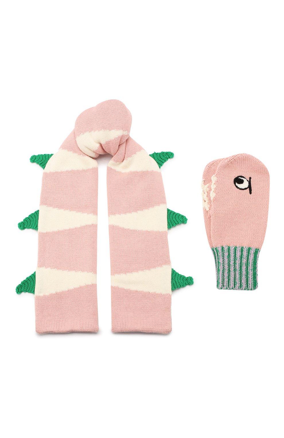 Детский комплект из шарфа и варежек STELLA MCCARTNEY розового цвета, арт. 566337/SNM18 | Фото 1 (Материал: Текстиль, Хлопок; Статус проверки: Проверено, Проверена категория)