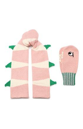 Детский комплект из шарфа и варежек STELLA MCCARTNEY розового цвета, арт. 566337/SNM18 | Фото 1