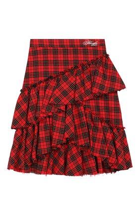 Детская хлопковая юбка PHILOSOPHY DI LORENZO SERAFINI KIDS красного цвета, арт. PJG007/CQ281/UHUNI/XXS-XS | Фото 1