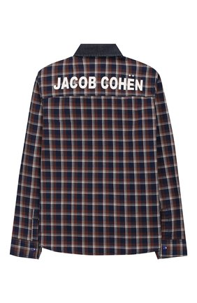 Детская хлопковая рубашка JACOB COHEN коричневого цвета, арт. J8001 T-10003-W1   Фото 2