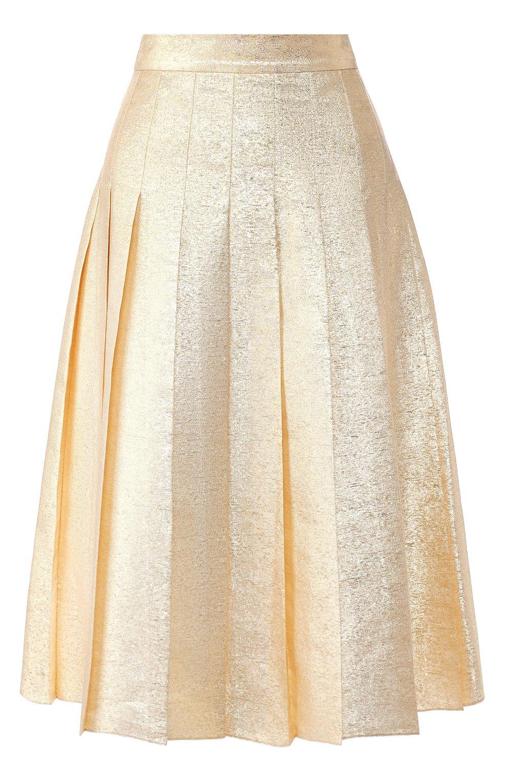 Женская шелковая юбка VIKA GAZINSKAYA золотого цвета, арт. FW19-1824   Фото 1