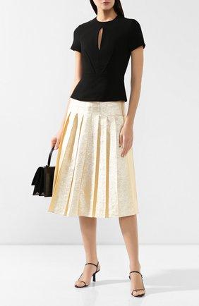 Женская шелковая юбка VIKA GAZINSKAYA золотого цвета, арт. FW19-1824   Фото 2