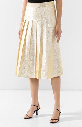 Женская шелковая юбка VIKA GAZINSKAYA золотого цвета, арт. FW19-1824   Фото 3