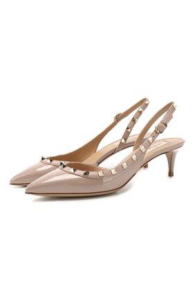 Женская кожаные туфли valentino garavani rockstud VALENTINO бежевого цвета, арт. RW2S0H14/VNW | Фото 1