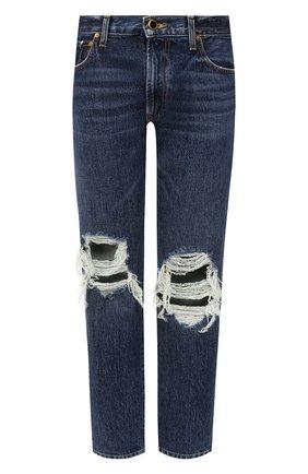 Женские джинсы с потертостями KHAITE темно-синего цвета, арт. 1036-049/KYLE | Фото 1