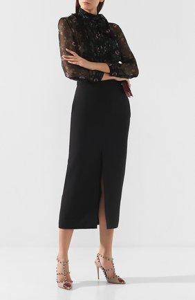Женская юбка из смеси шерсти и шелка VALENTINO черного цвета, арт. SB0RA5751CF | Фото 2