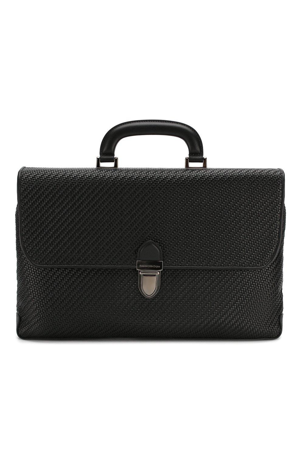 Мужской кожаный портфель ERMENEGILDO ZEGNA черного цвета, арт. C1384P-LHPTA   Фото 1