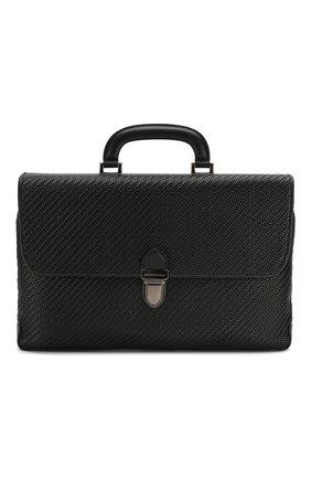 Мужской кожаный портфель ERMENEGILDO ZEGNA черного цвета, арт. C1384P-LHPTA | Фото 1