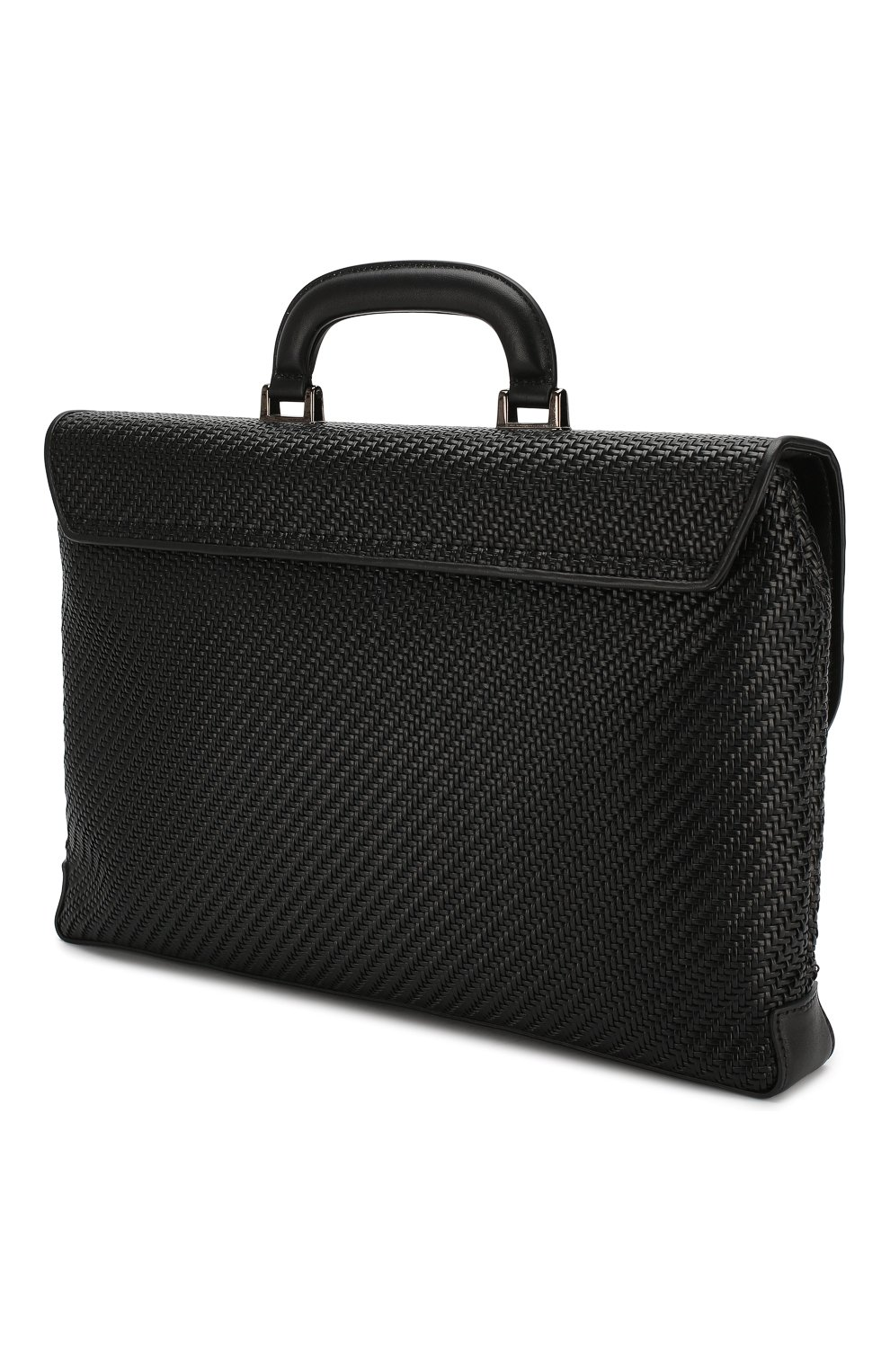 Мужской кожаный портфель ERMENEGILDO ZEGNA черного цвета, арт. C1384P-LHPTA   Фото 3