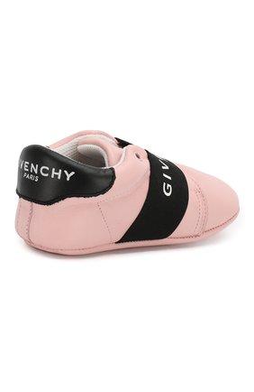 Детского кожаные пинетки GIVENCHY розового цвета, арт. H99016 | Фото 3