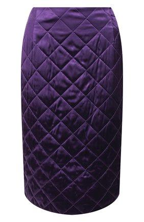 Женская стеганая юбка DRIES VAN NOTEN фиолетового цвета, арт. 192-10800-8536 | Фото 1