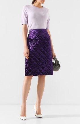 Женская стеганая юбка DRIES VAN NOTEN фиолетового цвета, арт. 192-10800-8536 | Фото 2