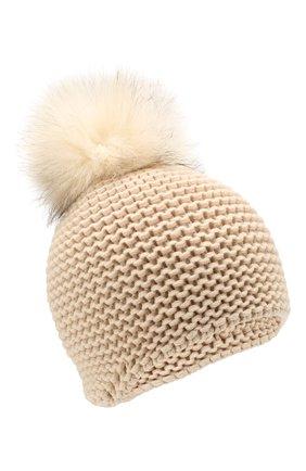 Женский кашемировая шапка INVERNI светло-бежевого цвета, арт. 1547CM | Фото 1