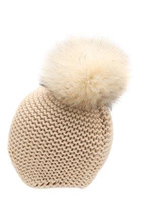 Женский кашемировая шапка INVERNI светло-бежевого цвета, арт. 1547CM | Фото 2