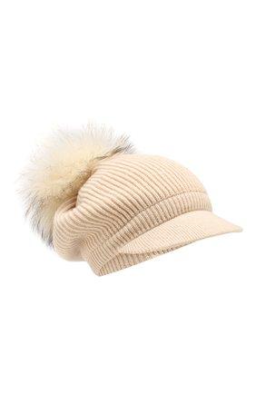 Женский кашемировая шапка INVERNI светло-бежевого цвета, арт. 4694CM | Фото 1