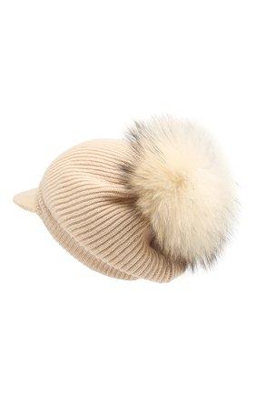 Женский кашемировая шапка INVERNI светло-бежевого цвета, арт. 4694CM | Фото 2