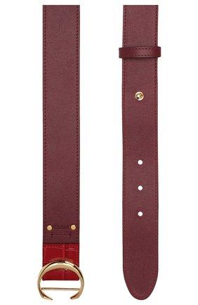 Женский кожаный ремень CHLOÉ бордового цвета, арт. CHC19WC023GEC   Фото 2 (Материал: Кожа; Статус проверки: Проверена категория)