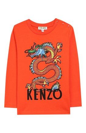 Детский хлопковый лонгслив KENZO оранжевого цвета, арт. KP10557 | Фото 1