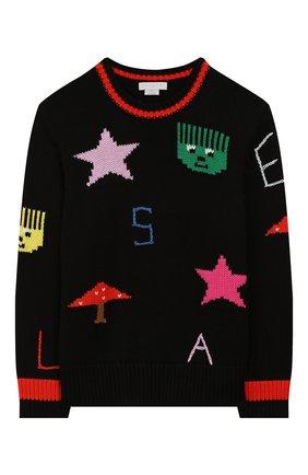 Детский пуловер из хлопка и шерсти STELLA MCCARTNEY черного цвета, арт. 566264/SNM30 | Фото 1