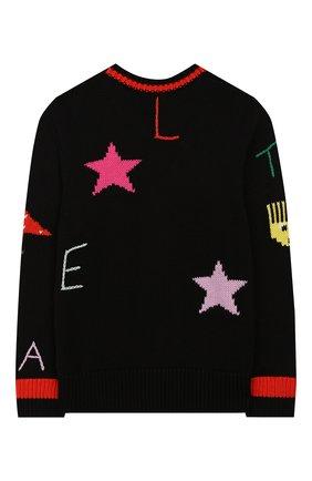 Детский пуловер из хлопка и шерсти STELLA MCCARTNEY черного цвета, арт. 566264/SNM30 | Фото 2