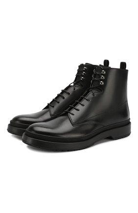 Мужские кожаные ботинки BOSS черного цвета, арт. 50415010 | Фото 1