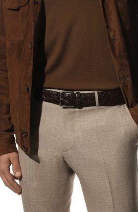 Мужской ремень из кожи каймана LORO PIANA коричневого цвета, арт. FAI1156/CYAC | Фото 2