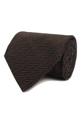 Мужской галстук из смеси шелка и хлопка TOM FORD коричневого цвета, арт. 6TF09/XTF   Фото 1