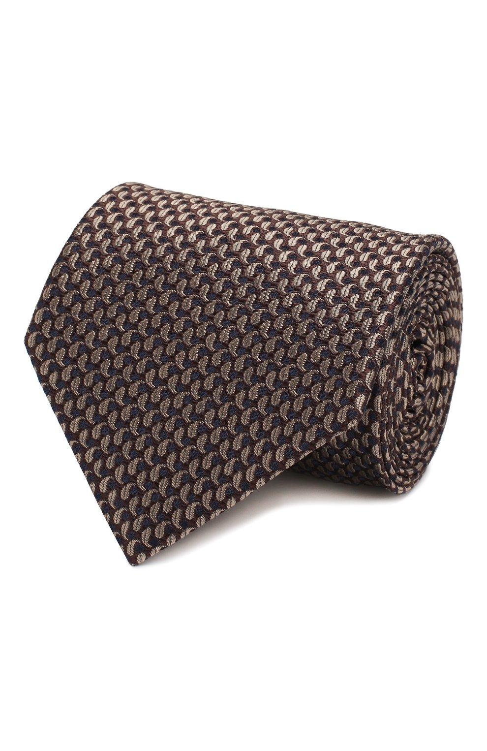 Мужской шелковый галстук BRIONI коричневого цвета, арт. 062H00/08452 | Фото 1