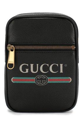 Мужская кожаная сумка gucci print GUCCI черного цвета, арт. 574803/0Y2AT   Фото 1
