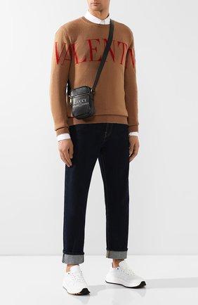 Мужская кожаная сумка gucci print GUCCI черного цвета, арт. 574803/0Y2AT   Фото 2