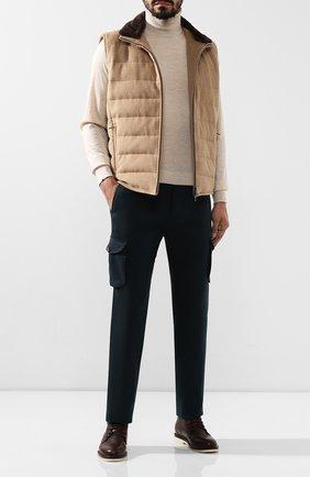 Мужской шерстяные брюки-карго KITON зеленого цвета, арт. UFPPCAK01S28 | Фото 2