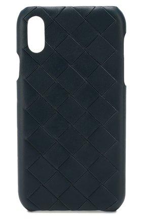 Мужской кожаный чехол для iphone x/xs BOTTEGA VENETA синего цвета, арт. 592060/V00BL | Фото 1