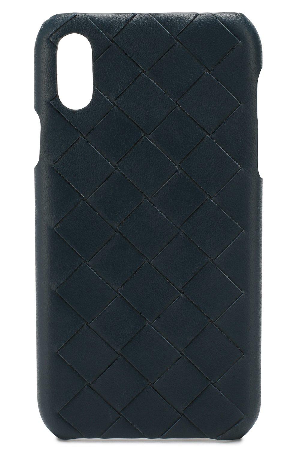 Мужской кожаный чехол для iphone xr BOTTEGA VENETA синего цвета, арт. 592063/V00BL | Фото 1