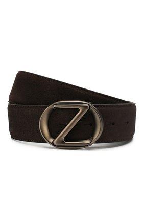 Мужской замшевый ремень Z ZEGNA темно-коричневого цвета, арт. BSUE1B/J9Z01F | Фото 1