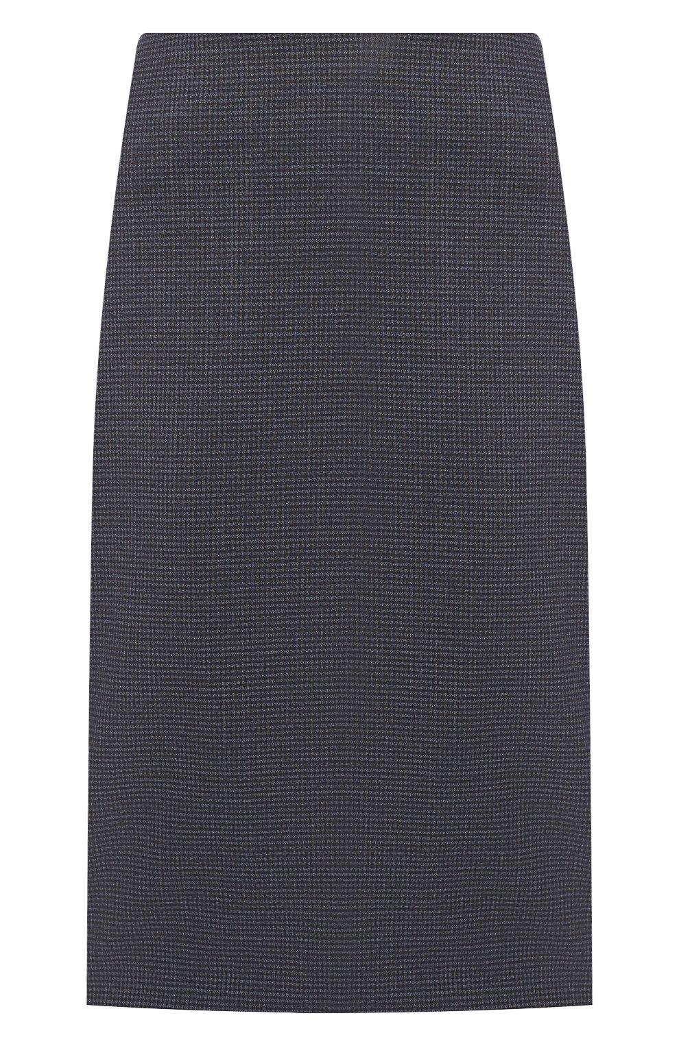 Женская шерстяная юбка BOSS темно-синего цвета, арт. 50417271 | Фото 1