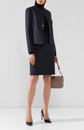 Женская шерстяная юбка BOSS темно-синего цвета, арт. 50417271 | Фото 2
