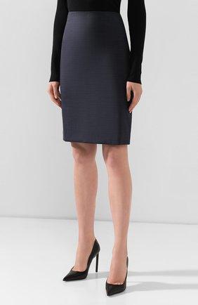 Женская шерстяная юбка BOSS темно-синего цвета, арт. 50417271 | Фото 3